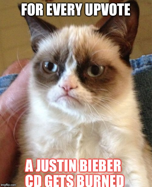 Grumpy Cat Meme | FOR EVERY UPVOTE A JUSTIN BIEBER CD GETS BURNED | image tagged in memes,grumpy cat | made w/ Imgflip meme maker
