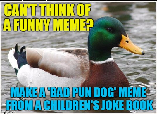 Lotsa IMGFlippers do it | CAN'T THINK OF A FUNNY MEME? MAKE A 'BAD PUN DOG' MEME FROM A CHILDREN'S JOKE BOOK | image tagged in memes,actual advice mallard | made w/ Imgflip meme maker