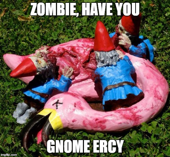 Did I see it's Zombie week? | ZOMBIE, HAVE YOU GNOME ERCY | image tagged in zombie week | made w/ Imgflip meme maker