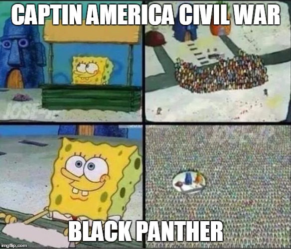 Spongebob Hype Stand | CAPTIN AMERICA CIVIL WAR BLACK PANTHER | image tagged in spongebob hype stand,spongebob,captain america,captain america civil war,black panther | made w/ Imgflip meme maker