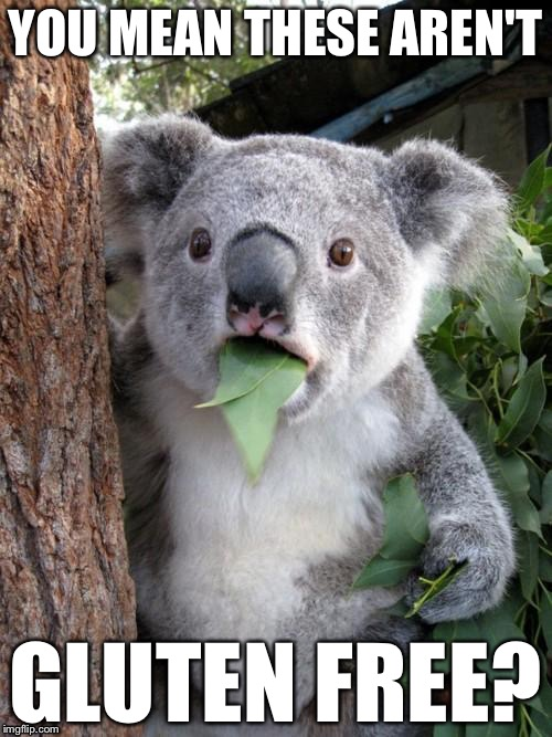 Surprised Koala Meme | YOU MEAN THESE AREN'T GLUTEN FREE? | image tagged in memes,surprised koala | made w/ Imgflip meme maker