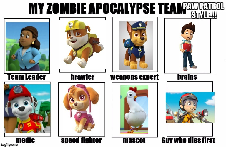 PAW PATROL - ZOMBIE APOCALYPSE      TEAM - RADIATION/ZOMBIE WEEK | PAW PATROL STYLE!!! | image tagged in my zombie apocalypse team,radiation zombie week,zombie week,paw patrol | made w/ Imgflip meme maker