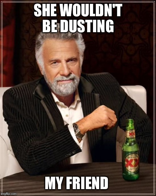 The Most Interesting Man In The World Meme | SHE WOULDN'T BE DUSTING MY FRIEND | image tagged in memes,the most interesting man in the world | made w/ Imgflip meme maker