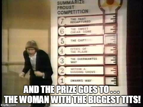 AND THE PRIZE GOES TO . . . THE WOMAN WITH THE BIGGEST TITS! | made w/ Imgflip meme maker