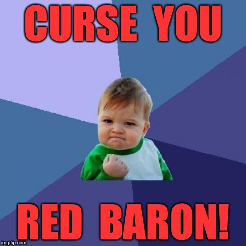 Success Kid Meme | CURSE  YOU RED  BARON! | image tagged in memes,success kid | made w/ Imgflip meme maker