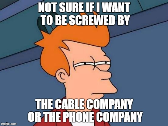 Futurama Fry Meme | NOT SURE IF I WANT TO BE SCREWED BY THE CABLE COMPANY OR THE PHONE COMPANY | image tagged in memes,futurama fry | made w/ Imgflip meme maker