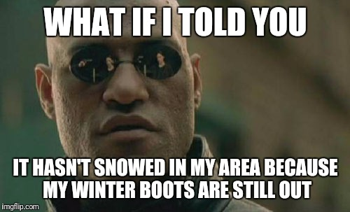 Matrix Morpheus Meme | WHAT IF I TOLD YOU IT HASN'T SNOWED IN MY AREA BECAUSE MY WINTER BOOTS ARE STILL OUT | image tagged in memes,matrix morpheus | made w/ Imgflip meme maker