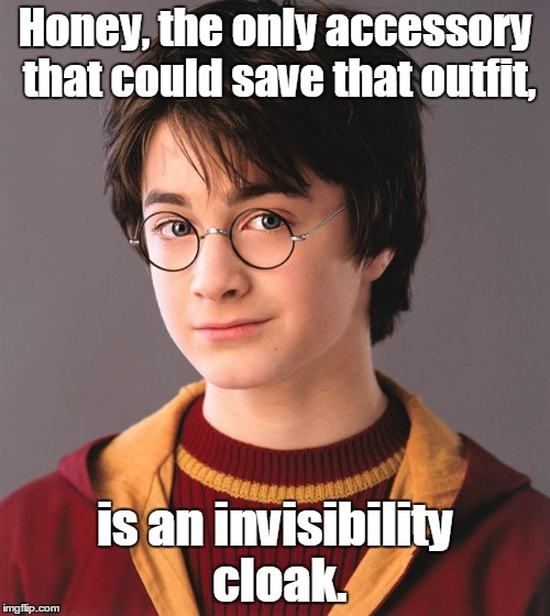 Honey, the only accessory that could save that outfit, is an invisibility cloak. | image tagged in harry potter | made w/ Imgflip meme maker