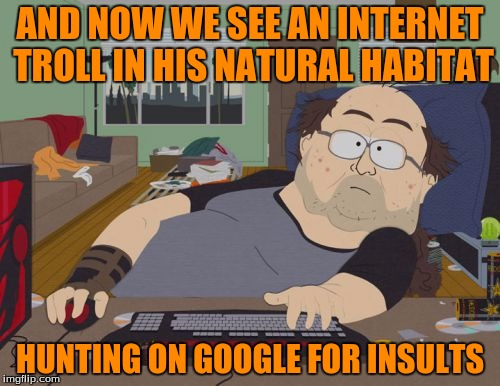 I Hate Internet Trolls Especially On Imgflip | AND NOW WE SEE AN INTERNET TROLL IN HIS NATURAL HABITAT HUNTING ON GOOGLE FOR INSULTS | image tagged in memes,rpg fan,google,internet trolls | made w/ Imgflip meme maker