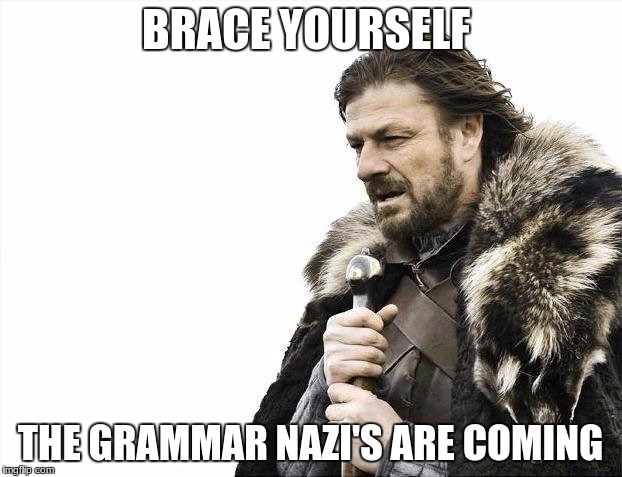 Brace Yourselves X is Coming Meme | BRACE YOURSELF THE GRAMMAR NAZI'S ARE COMING | image tagged in memes,brace yourselves x is coming | made w/ Imgflip meme maker
