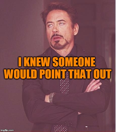 Face You Make Robert Downey Jr Meme | I KNEW SOMEONE WOULD POINT THAT OUT | image tagged in memes,face you make robert downey jr | made w/ Imgflip meme maker