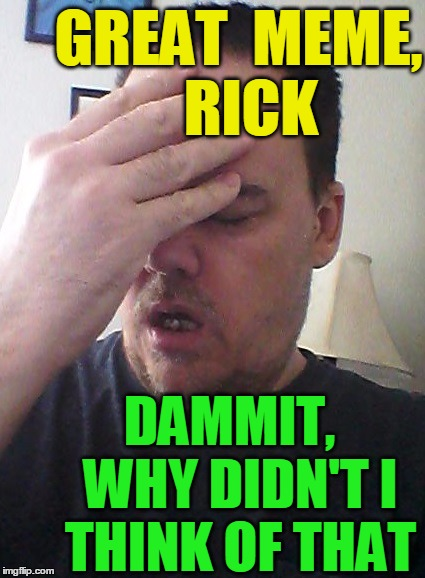 face palm | GREAT  MEME,  RICK DAMMIT,  WHY DIDN'T I THINK OF THAT | image tagged in face palm | made w/ Imgflip meme maker