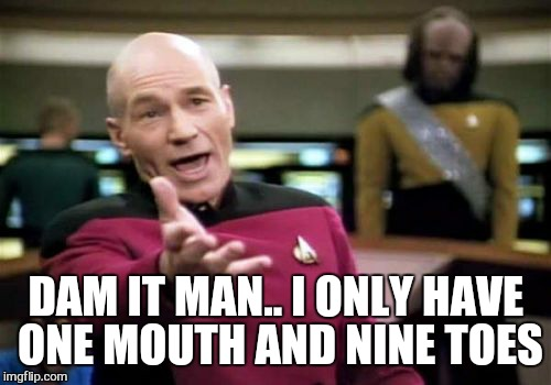 Picard Wtf Meme | DAM IT MAN.. I ONLY HAVE ONE MOUTH AND NINE TOES | image tagged in memes,picard wtf | made w/ Imgflip meme maker