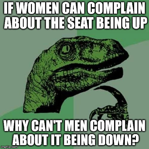 EQUALITY,  BABY! | IF WOMEN CAN COMPLAIN ABOUT THE SEAT BEING UP WHY CAN'T MEN COMPLAIN ABOUT IT BEING DOWN? | image tagged in memes,philosoraptor,feminism,gender equality,poop,toilet humor | made w/ Imgflip meme maker