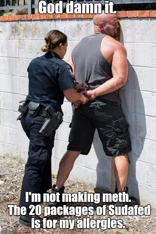 Police Woman | Go***amn it. I'm not making meth. The 20 packages of Sudafed is for my allergies. | image tagged in police woman | made w/ Imgflip meme maker
