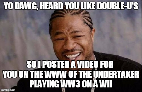 Yo Dawg Heard You Meme | YO DAWG, HEARD YOU LIKE DOUBLE-U'S SO I POSTED A VIDEO FOR YOU ON THE WWW OF THE UNDERTAKER PLAYING WW3 ON A WII | image tagged in memes,yo dawg heard you | made w/ Imgflip meme maker