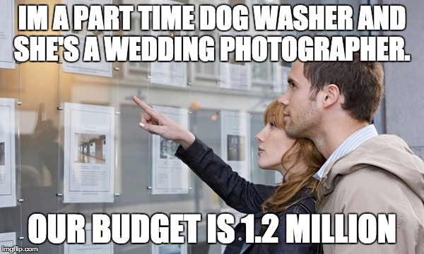 IM A PART TIME DOG WASHER AND SHE'S A WEDDING PHOTOGRAPHER. OUR BUDGET IS 1.2 MILLION | image tagged in house hunters | made w/ Imgflip meme maker