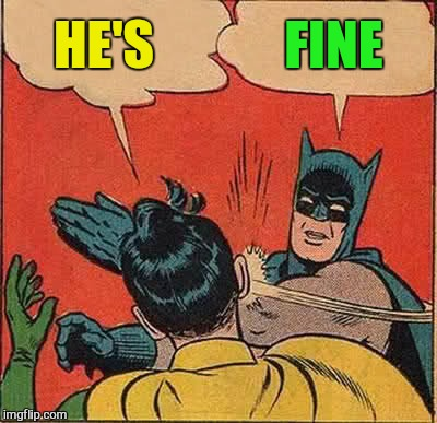 Batman Slapping Robin Meme | HE'S FINE | image tagged in memes,batman slapping robin | made w/ Imgflip meme maker