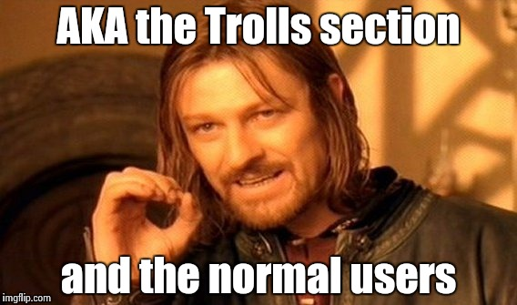 One Does Not Simply Meme | AKA the Trolls section and the normal users | image tagged in memes,one does not simply | made w/ Imgflip meme maker