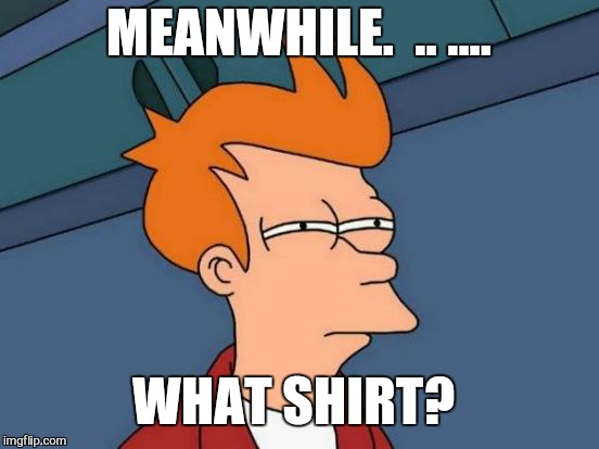 Futurama Fry Meme | MEANWHILE.  .. .... WHAT SHIRT? | image tagged in memes,futurama fry | made w/ Imgflip meme maker
