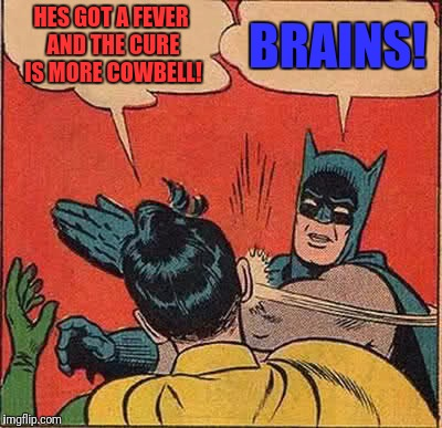 Batman Slapping Robin Meme | HES GOT A FEVER AND THE CURE IS MORE COWBELL! BRAINS! | image tagged in memes,batman slapping robin | made w/ Imgflip meme maker