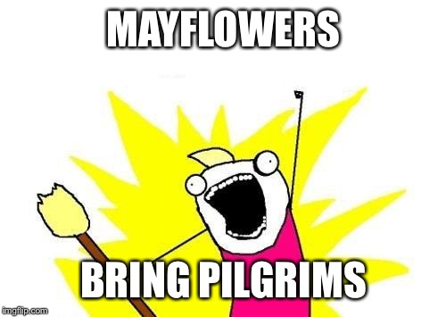 X All The Y Meme | MAYFLOWERS BRING PILGRIMS | image tagged in memes,x all the y | made w/ Imgflip meme maker