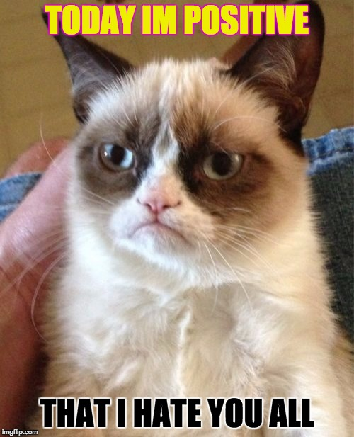 Positive Thinking...? | TODAY IM POSITIVE THAT I HATE YOU ALL | image tagged in memes,grumpy cat,positive thinking | made w/ Imgflip meme maker