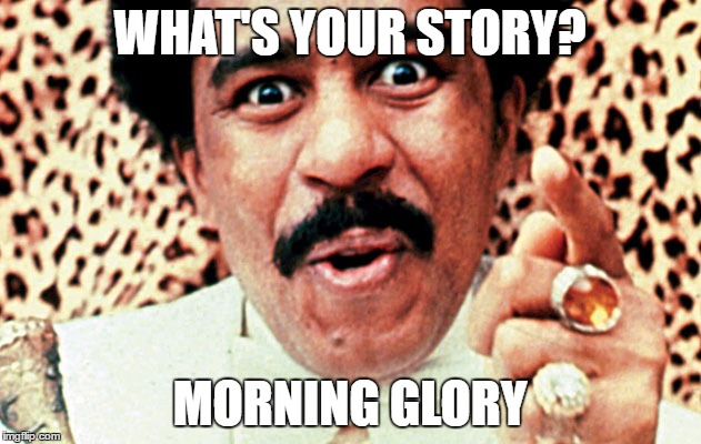 Morning glory | WHAT'S YOUR STORY? MORNING GLORY | image tagged in richard pryor | made w/ Imgflip meme maker