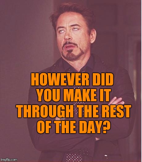 Face You Make Robert Downey Jr Meme | HOWEVER DID YOU MAKE IT THROUGH THE REST OF THE DAY? | image tagged in memes,face you make robert downey jr | made w/ Imgflip meme maker