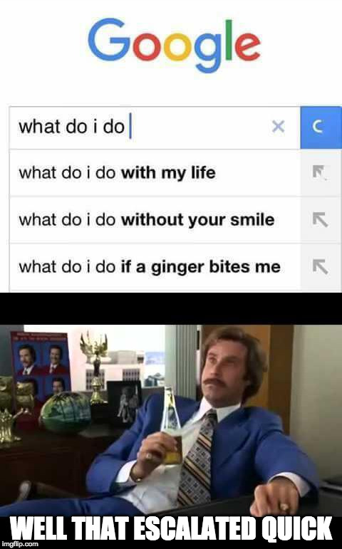 Well that escalated  | WELL THAT ESCALATED QUICK | image tagged in well that escalated quickly,ginger | made w/ Imgflip meme maker