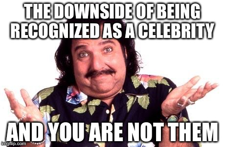 Ron Jeremy | THE DOWNSIDE OF BEING RECOGNIZED AS A CELEBRITY AND YOU ARE NOT THEM | image tagged in ron jeremy | made w/ Imgflip meme maker
