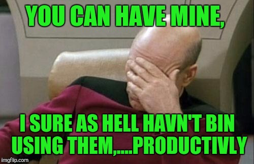 Captain Picard Facepalm Meme | YOU CAN HAVE MINE, I SURE AS HELL HAVN'T BIN USING THEM,....PRODUCTIVLY | image tagged in memes,captain picard facepalm | made w/ Imgflip meme maker