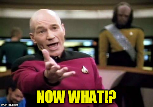 Picard Wtf Meme | NOW WHAT!? | image tagged in memes,picard wtf | made w/ Imgflip meme maker