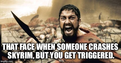Sparta Leonidas Meme | THAT FACE WHEN SOMEONE CRASHES SKYRIM, BUT YOU GET TRIGGERED. | image tagged in memes,sparta leonidas | made w/ Imgflip meme maker