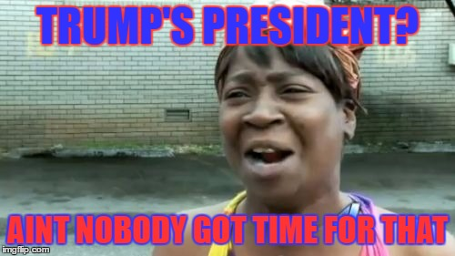 Aint Nobody Got Time For That | TRUMP'S PRESIDENT? AINT NOBODY GOT TIME FOR THAT | image tagged in memes,aint nobody got time for that | made w/ Imgflip meme maker