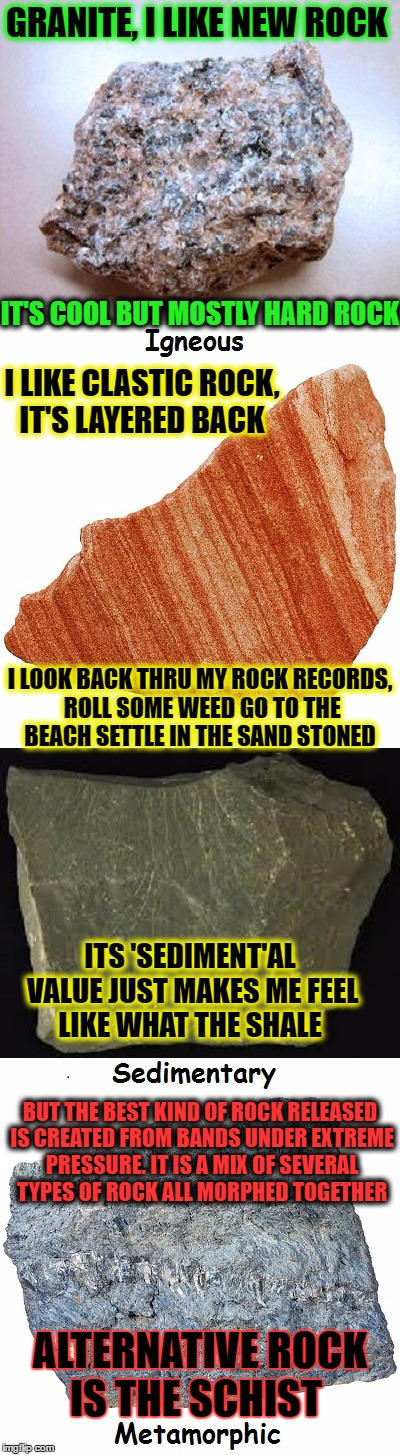 Geology taught me a lot about ROCK, & ROLL, thru different CYCLES   | GRANITE, I LIKE NEW ROCK BUT THE BEST KIND OF ROCK RELEASED IS CREATED FROM BANDS UNDER EXTREME PRESSURE. IT IS A MIX OF SEVERAL TYPES OF RO | image tagged in rock week,geology,rock and roll,memes,funny | made w/ Imgflip meme maker