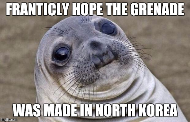 Awkward Moment Sealion Meme | FRANTICLY HOPE THE GRENADE WAS MADE IN NORTH KOREA | image tagged in memes,awkward moment sealion | made w/ Imgflip meme maker