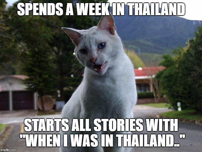 "SPENDS A WEEK IN THAILAND STARTS ALL STORIES WITH ""WHEN I WAS IN THAILAND.."" 