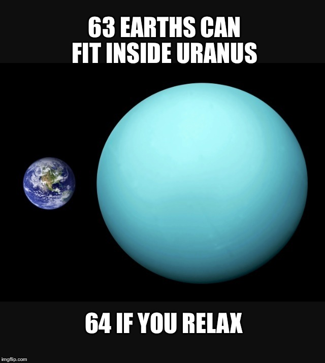Exploring the Milky Way  | 63 EARTHS CAN FIT INSIDE URANUS 64 IF YOU RELAX | image tagged in earth vs uranus,memes,big bang theory,creationism | made w/ Imgflip meme maker