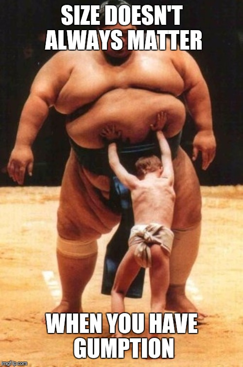 Young sumo kid | SIZE DOESN'T ALWAYS MATTER WHEN YOU HAVE GUMPTION | image tagged in young sumo kid | made w/ Imgflip meme maker