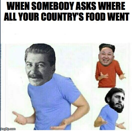 I dunno | WHEN SOMEBODY ASKS WHERE ALL YOUR COUNTRY'S FOOD WENT | image tagged in starvation,dictators | made w/ Imgflip meme maker