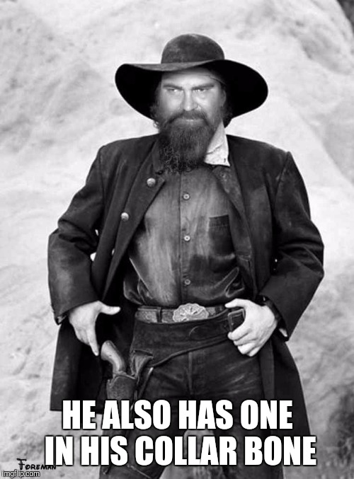 Swiggy gunslinger | HE ALSO HAS ONE IN HIS COLLAR BONE | image tagged in swiggy gunslinger | made w/ Imgflip meme maker