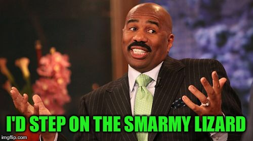 Steve Harvey Meme | I'D STEP ON THE SMARMY LIZARD | image tagged in memes,steve harvey | made w/ Imgflip meme maker