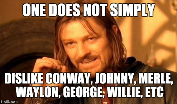 One Does Not Simply Meme | ONE DOES NOT SIMPLY DISLIKE CONWAY, JOHNNY, MERLE, WAYLON, GEORGE, WILLIE, ETC | image tagged in memes,one does not simply | made w/ Imgflip meme maker