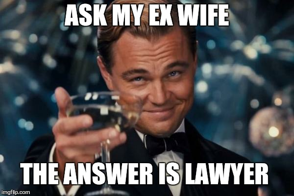 Leonardo Dicaprio Cheers Meme | ASK MY EX WIFE THE ANSWER IS LAWYER | image tagged in memes,leonardo dicaprio cheers | made w/ Imgflip meme maker
