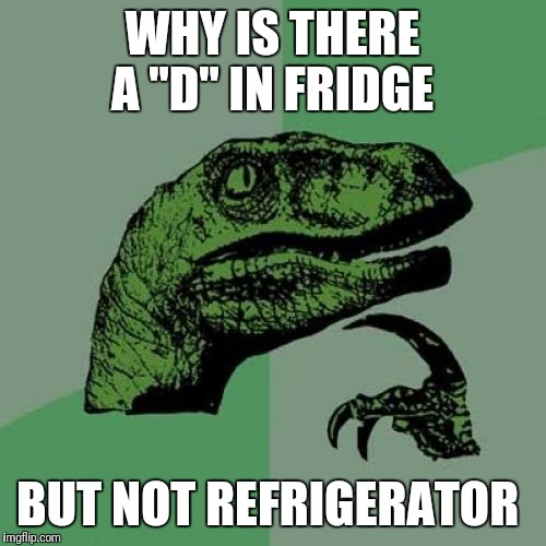 "Philosoraptor Meme | WHY IS THERE A ""D"" IN FRIDGE BUT NOT REFRIGERATOR 