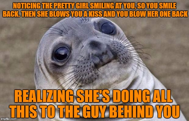 Awkward Moment Sealion Meme | NOTICING THE PRETTY GIRL SMILING AT YOU, SO YOU SMILE BACK. THEN SHE BLOWS YOU A KISS AND YOU BLOW HER ONE BACK REALIZING SHE'S DOING ALL TH | image tagged in memes,awkward moment sealion | made w/ Imgflip meme maker