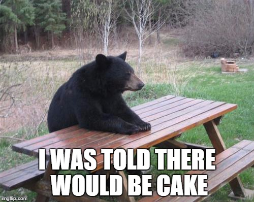 Bad Luck Bear |  I WAS TOLD THERE WOULD BE CAKE | image tagged in memes,bad luck bear,the office,i was told there would be | made w/ Imgflip meme maker