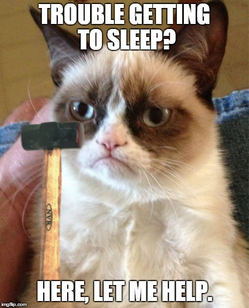 Every problem has a solution | TROUBLE GETTING TO SLEEP? HERE, LET ME HELP. | image tagged in memes,grumpy cat,maim,grumpy cat with weapons,insomnia,problem solving | made w/ Imgflip meme maker