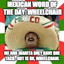 Mexican Fiesta | MEXICAN WORD OF THE DAY: WHEELCHAIR ME AND JUANITA ONLY HAVE ONE TACO.  BUT IS OK, WHEELCHAIR. | image tagged in mexican fiesta | made w/ Imgflip meme maker